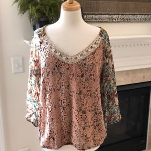 BKE Boutique Lace Overlay Embellished Top